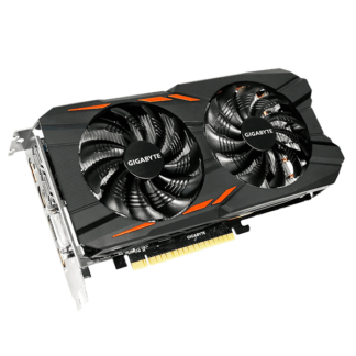 GIGABYTE nVidia GeForce GTX 1050 WINDFORCE – 2048MB GDDR5, 128-Bit Memory Bus GV-N1050WF2OC-2GD Angle