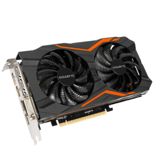 GIGABYTE nVidia GeForce GTX 1050Ti GAMING - 4096MB GDDR5, 128-Bit Memory Bus GV-N105TG1-GAMING-4GD Angle