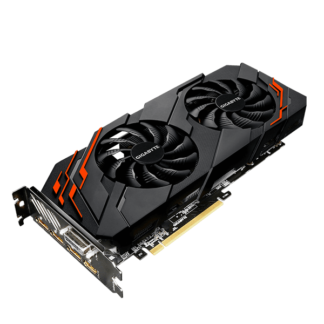 GIGABYTE nVidia GeForce GTX1070 WINDFORCE 2 – 8192MB GDDR5, 256-Bit Memory Bus GV-N1070WF2OC-8GD Angle