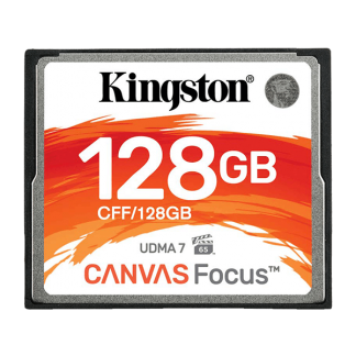 Kingston 128GB Canvas Focus Compact Flash, Read-Write 150-130 MBSec, Lifetime Warranty CFF-128GB Front