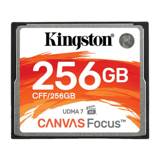 Kingston 256GB Canvas Focus Compact Flash, Read-Write 150-130 MBSec, Lifetime Warranty CFF-256GB Front