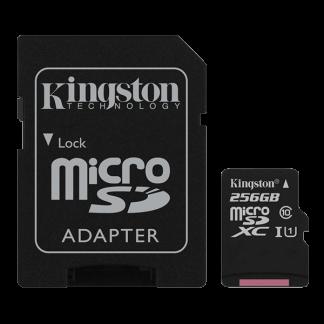 Kingston 256GB Canvas Select microSD, Read-Write 80-10 MB-Sec, Lifetime Warranty SDCS-256GB Top