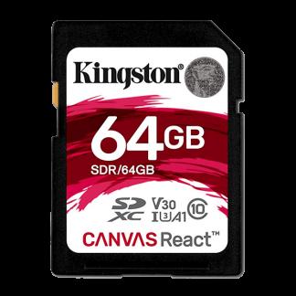 Kingston 64GB Canvas React SD Card, Read-Write 100-80 MB-Sec, Lifetime Warranty SDR-64GB Front